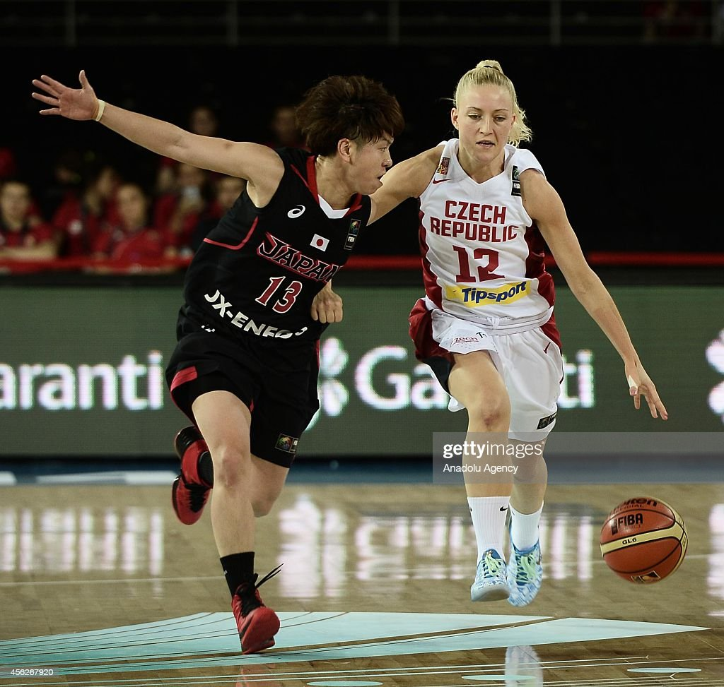 Yuko Oga of Japan and Katerina Sedlakova of Czech Republic in action during the 2014 FIBA World Championship for Women Group A game between Czech...