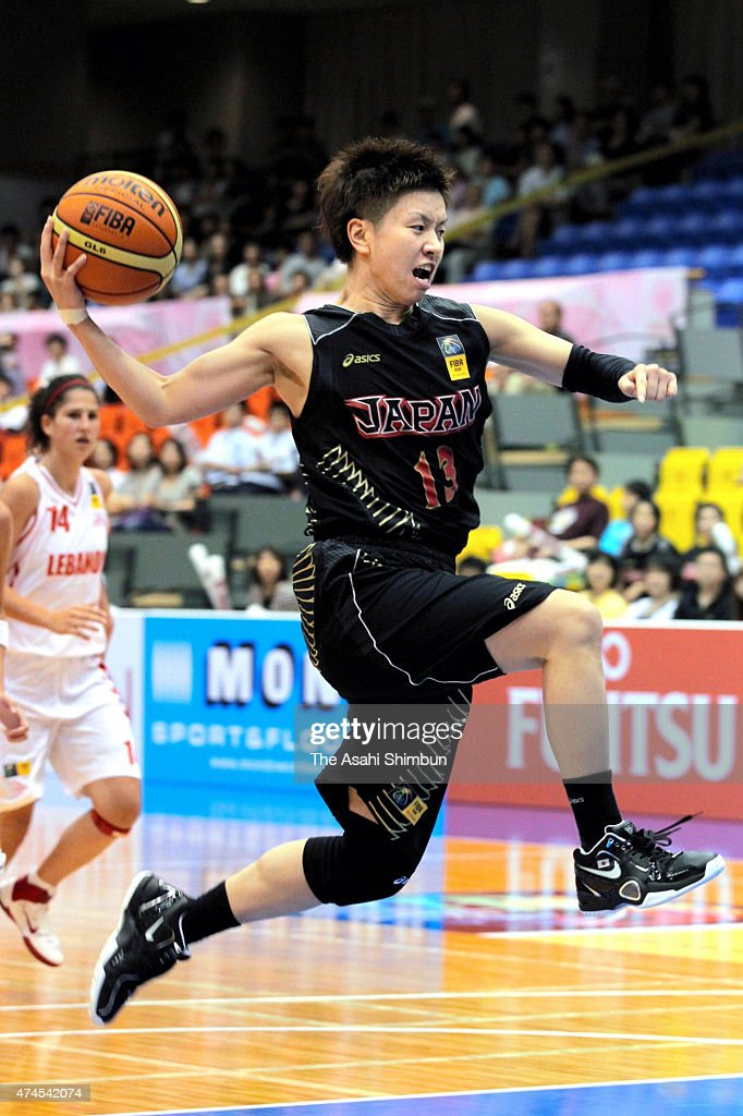 Yuko Oga of Japan in action during the FIBA Aisa Championship for Women Level I match between Japan and Lebanon at Seahat Omura on August 21 2011 in...