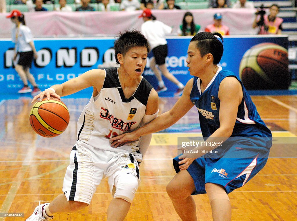 Yuko Oga of Japan in action during the FIBA Aisa Championship for Women Level I match between Japan and Chinese Taipei at Seahat Omura on August 22...