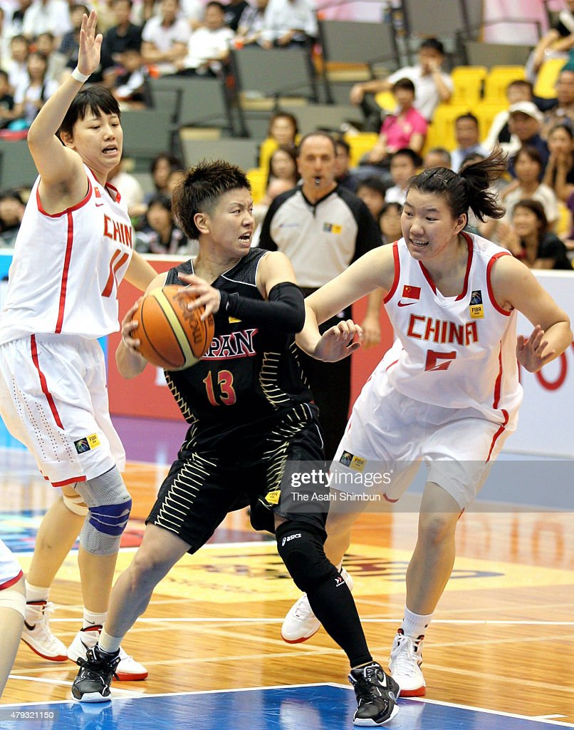 Yuko Oga of Japan in action during the FIBA Aisa Championship for Women Level I match between Japan and China at Seahat Omura on August 27 2011 in...