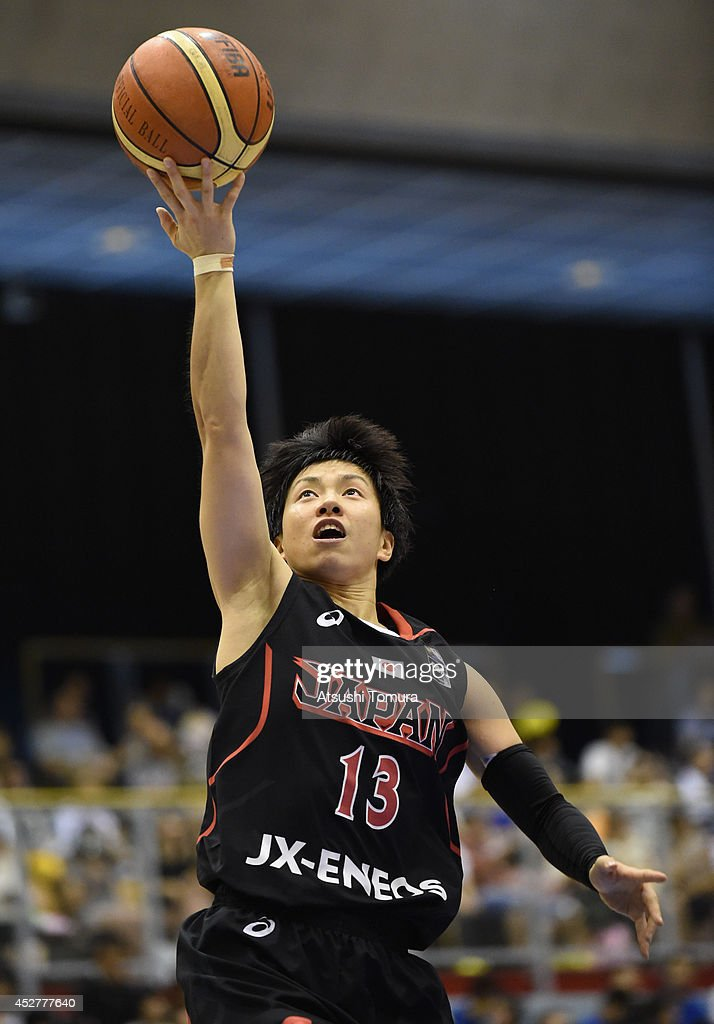 Yuko Oga of Japan in action during the women's basketball international friendly match between Japan and Australia at Kamiyama City Sports and...