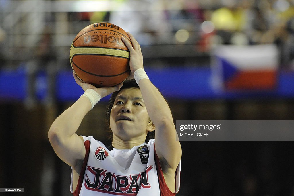 Yuko Oga of Japan shoots a penalty during the World Championship women basketball match Czech Republic vs Japan on September 25 2010 in Brno PHOTO...