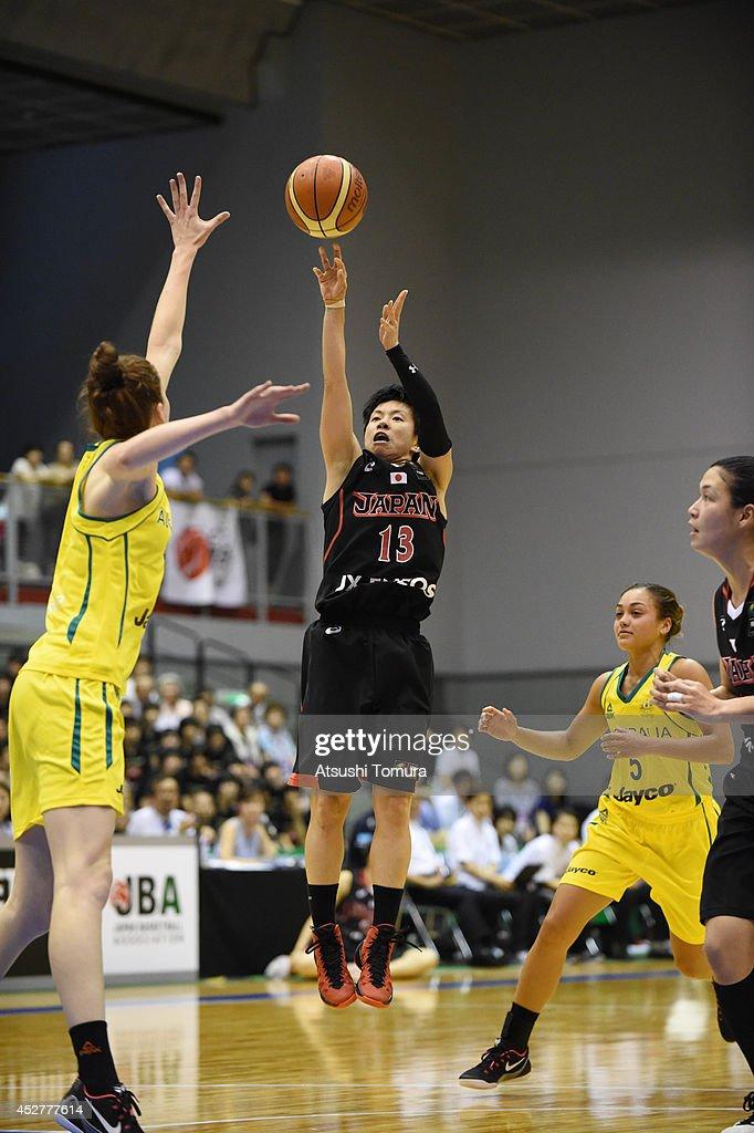 Yuko Oga of Japan takes a shot during the women's basketball international friendly match between Japan and Australia at Kamiyama City Sports and...