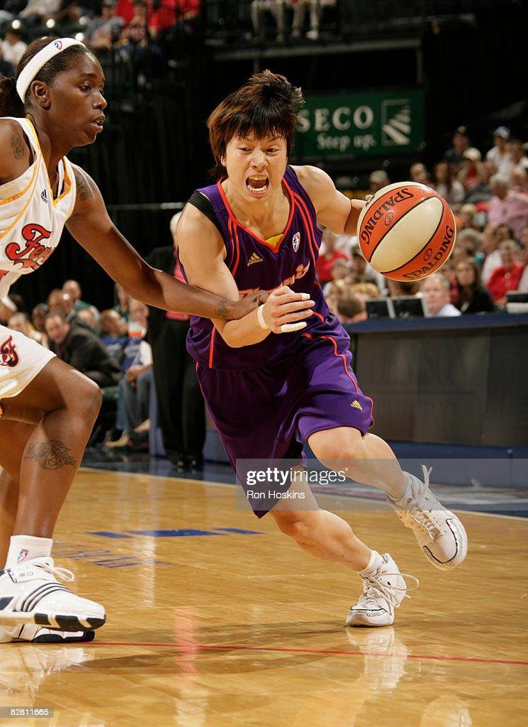 Yuko Oga of the Phoenix Mercury moves on Doneeka HodgesLewis of the Indiana Fever at Conseco Fieldhouse September 14 2008 in Indianapolis Indiana The...