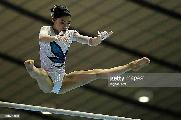 Yuko Shintake competes in the Women's Uneven Bars final during day two of the 51st Artistic Gymnastics NHK Trophy at Yoyogi National Gymnasium on May...