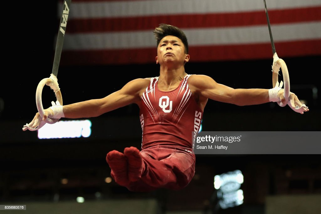 Yul Moldauer competes on the Rings during the P&G Gymnastic Championships at Honda Center on August 19, 2017 in Anaheim, California.