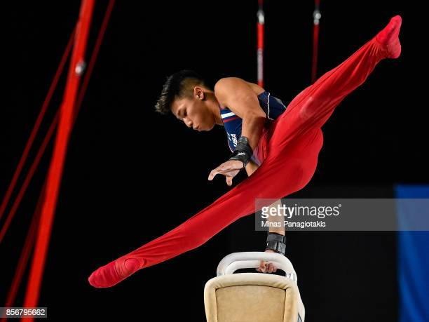 Yul Moldauer of the United States competes on the pommel horse during day one of the Artistic Gymnastics World Championships on October 2 2017 at...