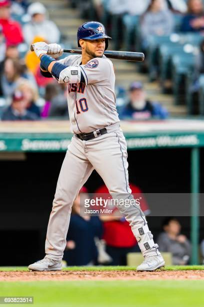 Yuli Gurriel of the Houston Astros at bat during the fifth inning against the Cleveland Indians at Progressive Field on April 27 2017 in Cleveland...