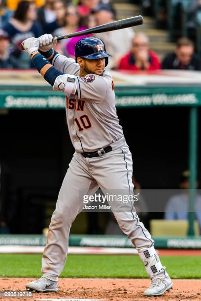 Yuli Gurriel of the Houston Astros at bat during the third inning against the Cleveland Indians at Progressive Field on April 27 2017 in Cleveland...