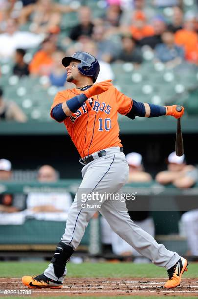 Yuli Gurriel of the Houston Astros bats against the Baltimore Orioles at Oriole Park at Camden Yards on July 23 2017 in Baltimore Maryland