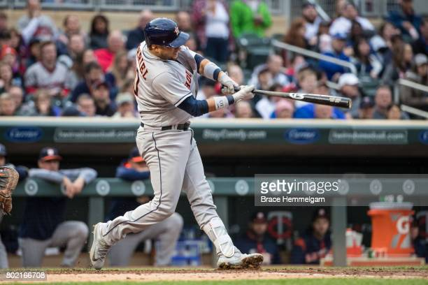 Yuli Gurriel of the Houston Astros bats against the Minnesota Twins on May 30 2017 at Target Field in Minneapolis Minnesota The Astros defeated the...