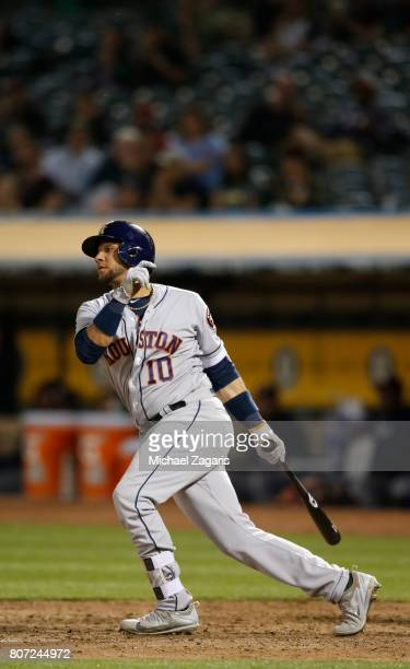 Yuli Gurriel of the Houston Astros bats during the game against the Oakland Athletics at the Oakland Alameda Coliseum on June 21 2017 in Oakland...