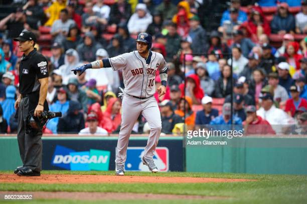 Yuli Gurriel of the Houston Astros celebrates after scoring in the second inning of Game 4 of the American League Division Series against the Boston...