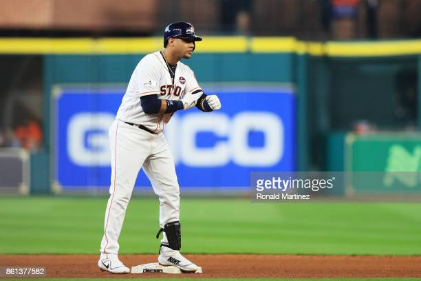 Yuli Gurriel of the Houston Astros celebrates his double in the seventh inning against the New York Yankees during game two of the American League...
