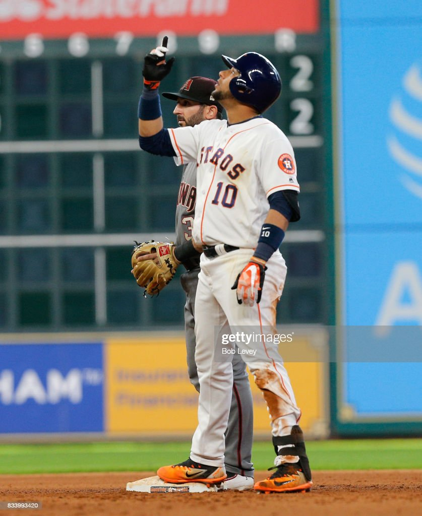 Yuli Gurriel #10 of the Houston Astros doubles in the ninth inning against the Arizona Diamondbacks at Minute Maid Park on August 17, 2017 in Houston, Texas.