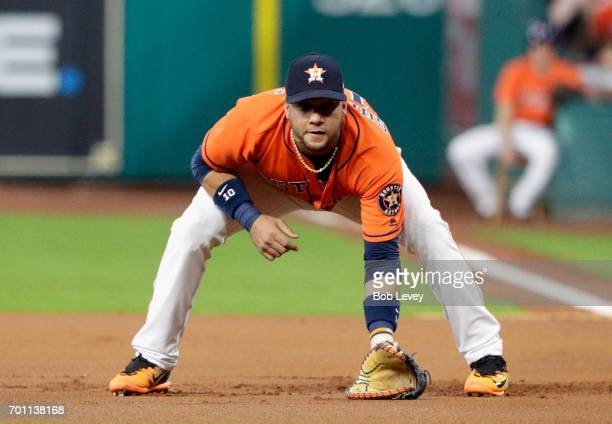Yuli Gurriel of the Houston Astros during the game against the Boston Red Sox at Minute Maid Park on June 16 2017 in Houston Texas