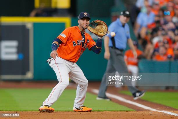 Yuli Gurriel of the Houston Astros fields a ball in the sixth inning against the Boston Red Sox during game two of the American League Division...