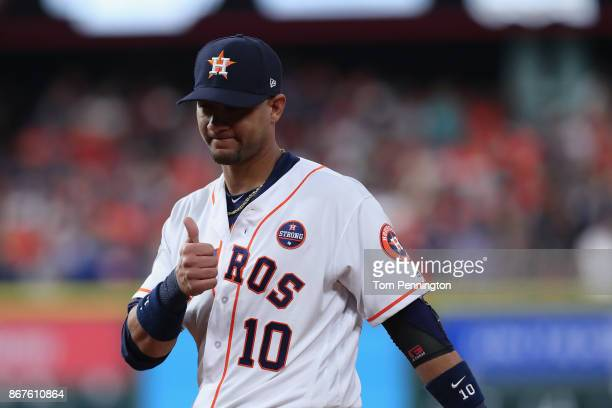 Yuli Gurriel of the Houston Astros gestures during the first inning against the Los Angeles Dodgers in game four of the 2017 World Series at Minute...