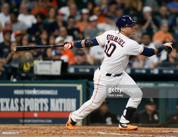 Yuli Gurriel of the Houston Astros hits a two RBI double in the fourth inning against the Chicago White Sox at Minute Maid Park on September 20 2017...