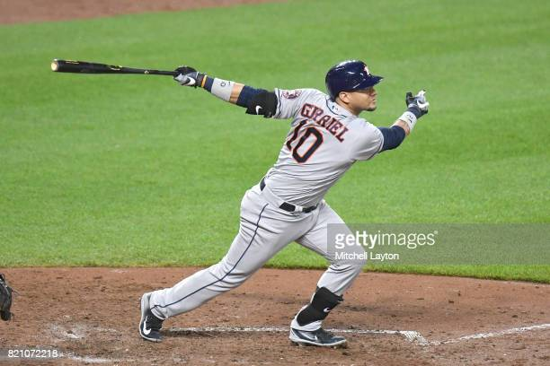 Yuli Gurriel of the Houston Astros hits a two run home run in the sixth inning during a baseball game against the Baltimore Orioles at Oriole Park at...