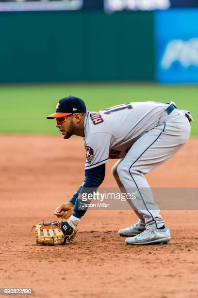 Yuli Gurriel of the Houston Astros in his ready stance during the third inning against the Cleveland Indians at Progressive Field on April 27 2017 in...