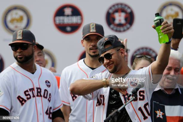 Yuli Gurriel of the Houston Astros is introduced during the Houston Astros Victory Parade on November 3 2017 in Houston Texas The Astros defeated the...