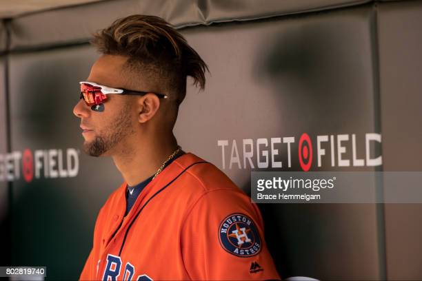 Yuli Gurriel of the Houston Astros looks on against the Minnesota Twins on May 31 2017 at Target Field in Minneapolis Minnesota The Astros defeated...