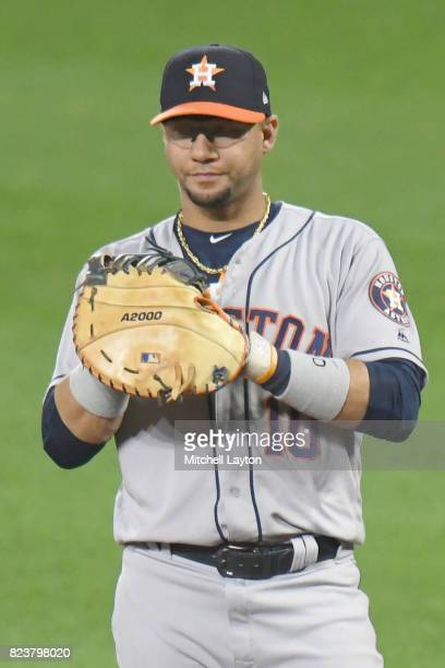 Yuli Gurriel of the Houston Astros looks on during a baseball game against the Baltimore Orioles at Oriole Park at Camden Yards on July 22 2017 in...