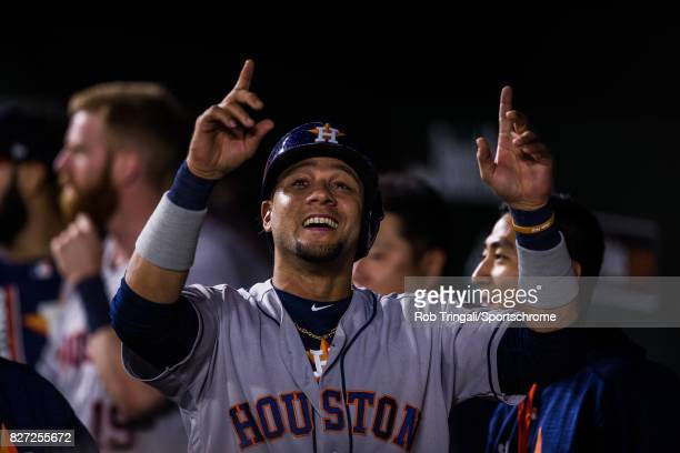 Yuli Gurriel of the Houston Astros reacts after hitting a home run during the game against the Baltimore Orioles at Oriole Park at Camden Yards on...
