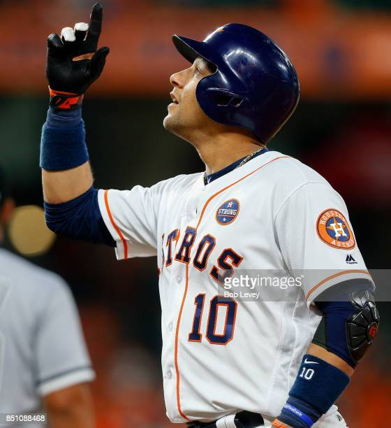 Yuli Gurriel of the Houston Astros singles in the second inning against the Chicago White Sox at Minute Maid Park on September 21 2017 in Houston...