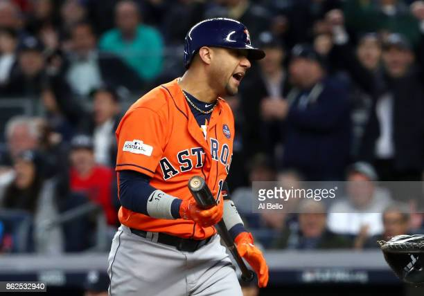 Yuli Gurriel of the Houston Astros strikes out during the fourth inning against the New York Yankees in Game Four of the American League Championship...