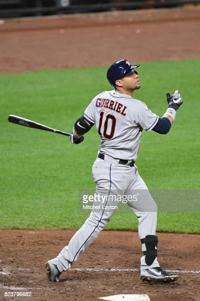 Yuli Gurriel of the Houston Astros takes a swing during a baseball game against the Baltimore Orioles at Oriole Park at Camden Yards on July 22 2017...