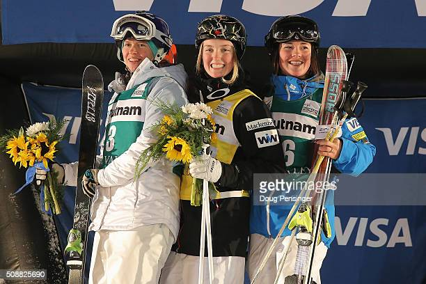 Yulia Galysheva of Kazakhstan in second place Justine DufourLapointe in first place and Jaelin Kauf of the United States in third place take the...