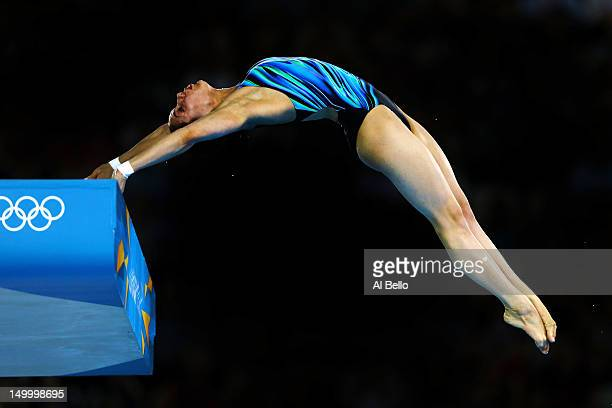 Yulia Koltunova of Russia competes in the Women's 10m Platform Diving Preliminary on Day 12 of the London 2012 Olympic Games at the Aquatics Centre...