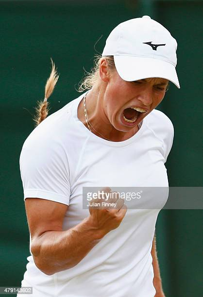 Yulia Putintseva of Kazakhstan celebrates a point in her Ladies Singles Second Round match against Venus Williams of the United States during day...