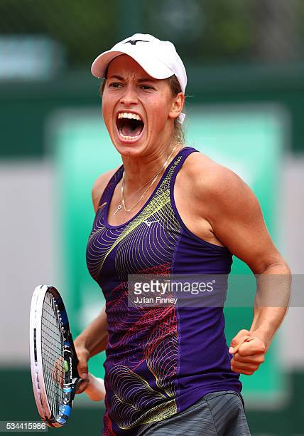 Yulia Putintseva of Kazakhstan celebrates during the Ladies Singles second round match against Andrea Petkovic of Germany on day five of the 2016...