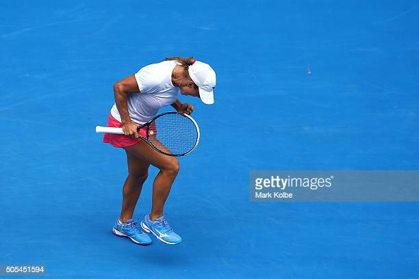 Yulia Putintseva of Kazakhstan celebrates in her first round match against Caroline Wozniacki of Denmark during day one of the 2016 Australian Open...