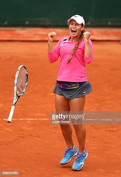 Yulia Putintseva of Kazakhstan celebrates victory during the Ladies Singles fourth round match against Carla Suarez Navarro of Spain on day eleven of...