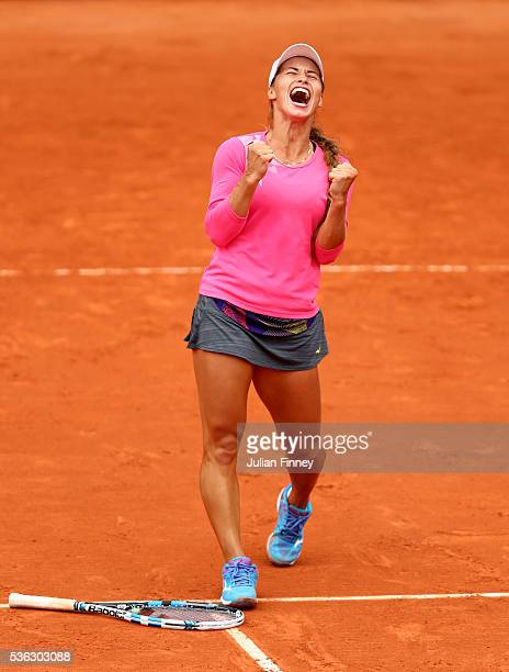 Yulia Putintseva of Kazakhstan celebrates victory during the Ladies Singles fourth round match against Carla Suarez Navarro of Spain on day eleven of...