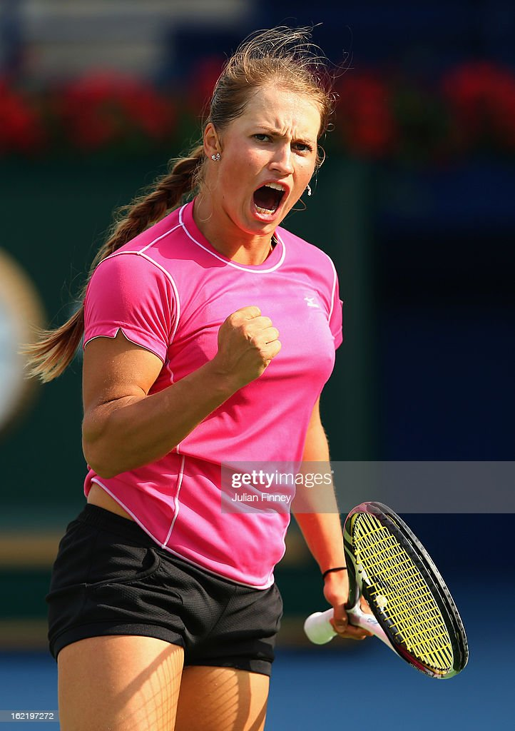 <a gi-track='captionPersonalityLinkClicked' href=/galleries/search?phrase=Yulia+Putintseva&family=editorial&specificpeople=6707401 ng-click='$event.stopPropagation()'>Yulia Putintseva</a> of Kazakhstan celebrates winning a point against Agnieszka Radwanska of Poland during day three of the WTA Dubai Duty Free Tennis Championship on February 20, 2013 in Dubai, United Arab Emirates.