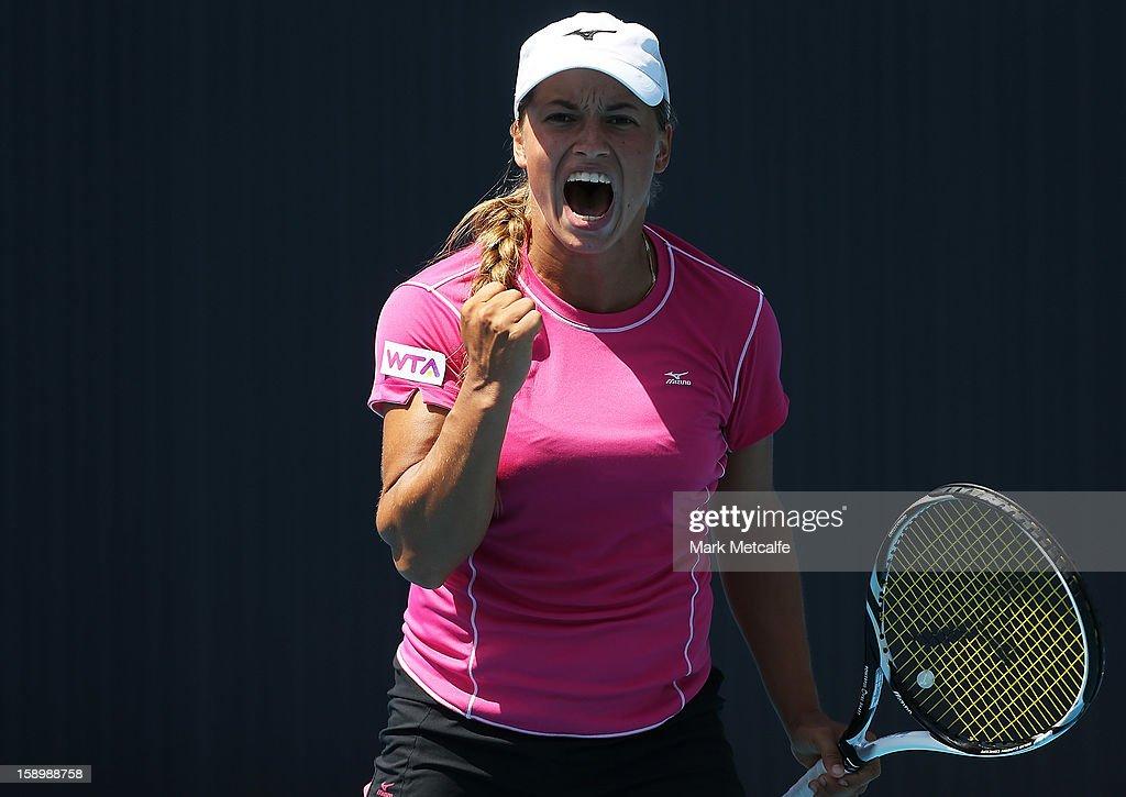 Yulia Putintseva of Kazakhstan celebrates winning a point in her qualifying singles match with Viktorija Rajicic of Australia during day two of the Hobart International at Domain Tennis Centre on January 5, 2013 in Hobart, Australia.