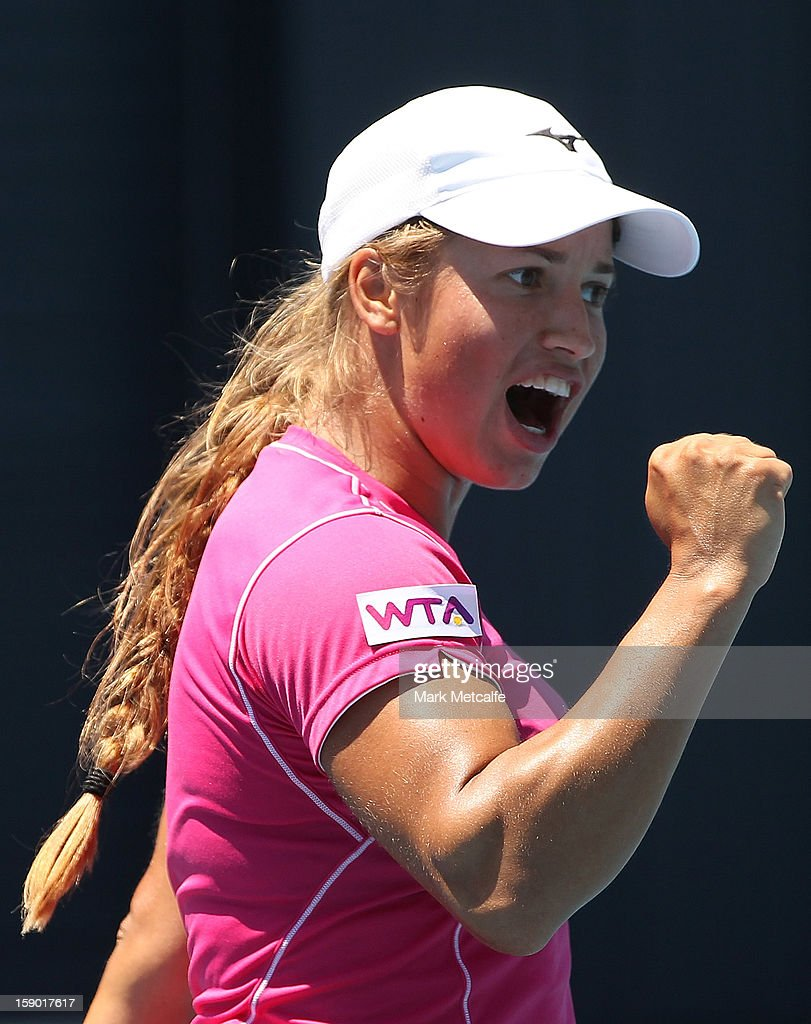 <a gi-track='captionPersonalityLinkClicked' href=/galleries/search?phrase=Yulia+Putintseva&family=editorial&specificpeople=6707401 ng-click='$event.stopPropagation()'>Yulia Putintseva</a> of Kazakhstan celebrates winning a point in her qualifying singles match with Lara Arruabarrena Vecindo of Spain during day three of the Hobart International at Domain Tennis Centre on January 6, 2013 in Hobart, Australia.