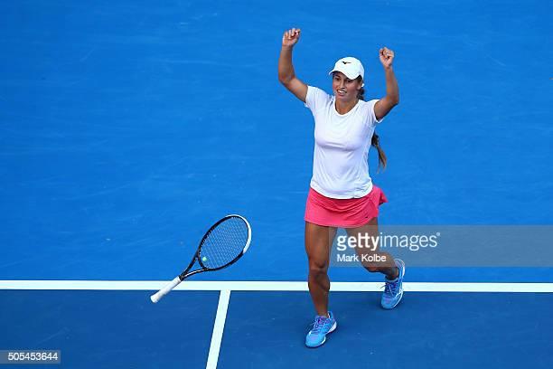 Yulia Putintseva of Kazakhstan celebrates winning her first round match against Caroline Wozniacki of Denmark during day one of the 2016 Australian...