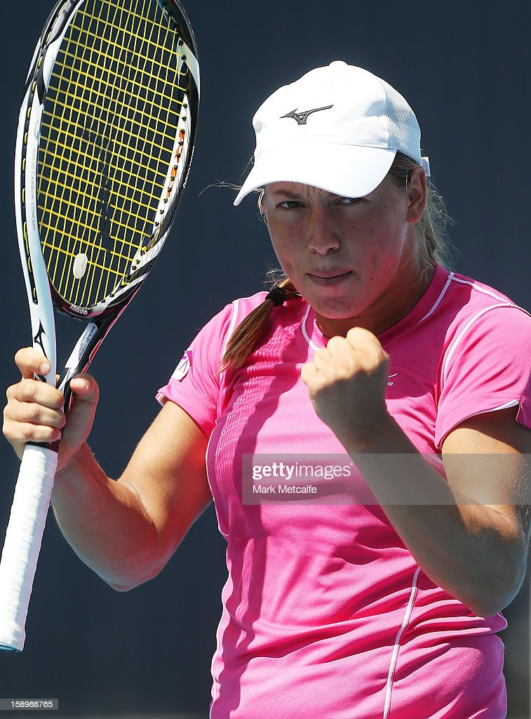 Yulia Putintseva of Kazakhstan celebrates winning match point in her qualifying singles match with Viktorija Rajicic of Australia during day two of the Hobart International at Domain Tennis Centre on January 5, 2013 in Hobart, Australia.