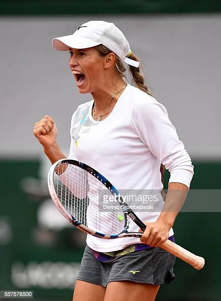 Yulia Putintseva of Kazakhstan celebrates winning the first set during the Ladies Singles quarter final match against Serena Williams of the United...