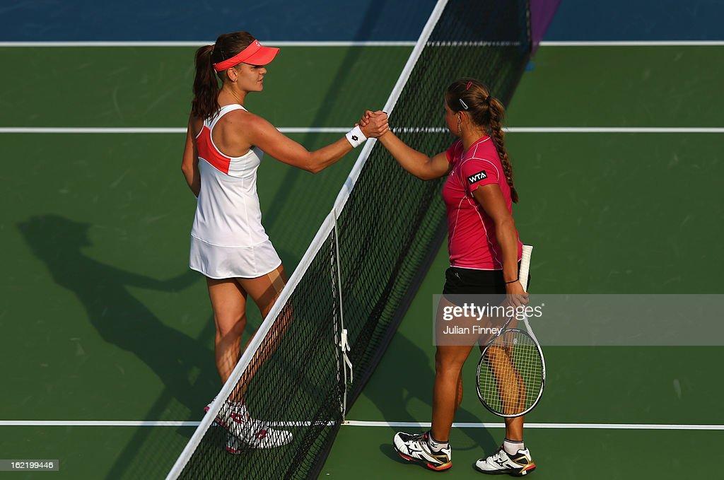 Yulia Putintseva of Kazakhstan (R) congratulates Agnieszka Radwanska of Poland after she won in straight sets during day three of the WTA Dubai Duty Free Tennis Championship on February 20, 2013 in Dubai, United Arab Emirates.