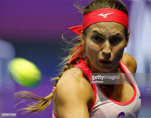 Yulia Putintseva of Kazakhstan during her final match against Kristina Mladenovic of France at St Petersburg Ladies Trophy tennis tournament on...