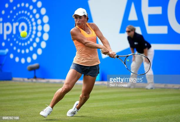 Yulia Putintseva of Kazakhstan hits a backhand during the first round match against Barbora Strycova of The Czech Republic on day 1 of the Aegon...