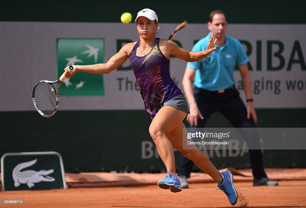 <a gi-track='captionPersonalityLinkClicked' href=/galleries/search?phrase=Yulia+Putintseva&family=editorial&specificpeople=6707401 ng-click='$event.stopPropagation()'>Yulia Putintseva</a> of Kazakhstan hits a forehand during the Ladies Singles third round match against Karin Knapp of Italy on day seven of the 2016 French Open at Roland Garros on May 28, 2016 in Paris, France.