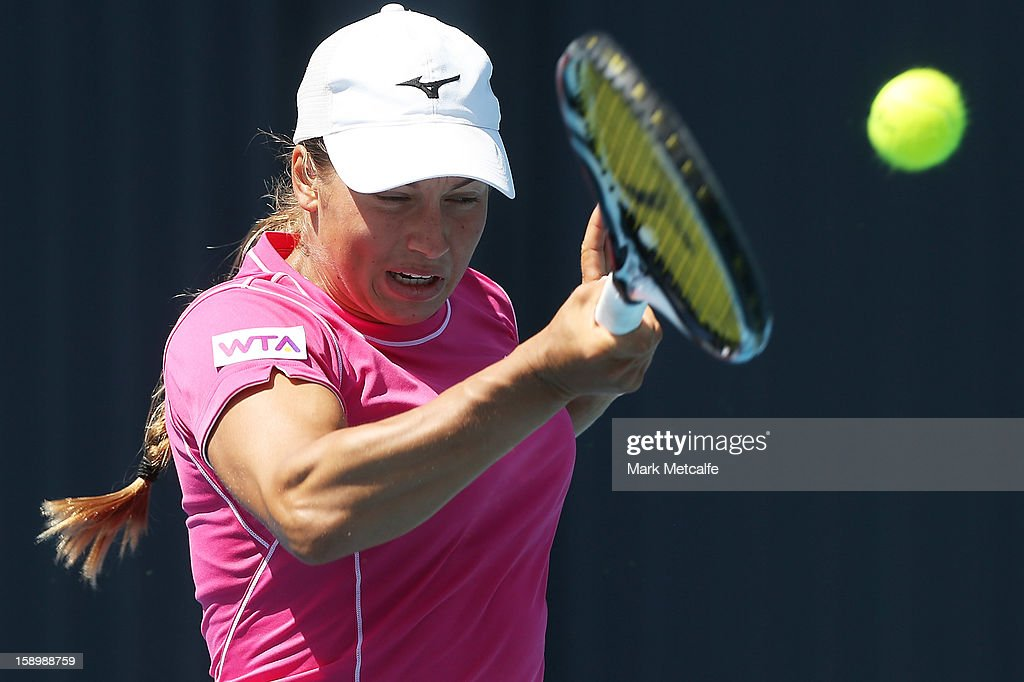 Yulia Putintseva of Kazakhstan plays a forehand in her qualifying singles match with Viktorija Rajicic of Australia during day two of the Hobart International at Domain Tennis Centre on January 5, 2013 in Hobart, Australia.